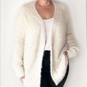 NWT. Cream colored soft fuzzy chunky knit cardigan